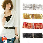 Womens Sexy Summer Sparkly Sequin Elastic Stretchy Shiny Metal Buckle Waist Belt