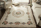 Victorian European Country Traditional Floral Floor Mat Area Rug Carpet Beige D