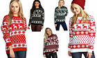 New Womens Christmas Jumper Reindeer Snowflakes Knitted Xmas Long Sweater Top