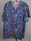 Fashion Scrubs Top NWOT Nurse Vet Dental CNA Child Care Sz M L XL 2XL Dogs Cats