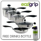 Eazi Grip Stainless Steel INDUCTION SAUCEPAN Cookware Pan SET EasyPour Glass LID
