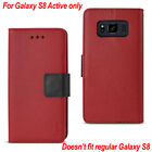 Reiko Samsung Galaxy S8 Active Leather-Like 3-in-1 Wallet Case w/ Folding Stand