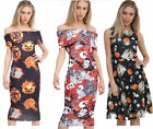 Womens Ladies Bardot Back Cut Out Halloween Pumpkin Print Bodycon Midi Dress