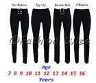 Girls Black Grey Navy School Trousers Pants Stretch Hipster Skinny/ Boot Cut/Leg