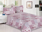 3 Piece Reversible Quilted Printed Bedspread Coverlet - Pink Patchwork image