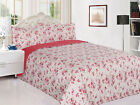 3 Piece Reversible Quilted Printed Bedspread Coverlet - Pink Flowers image