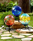 Gazing Ball Glass Globe Orb w/ Stand 3 Colors Each Unique Yard Lawn Garden Decor