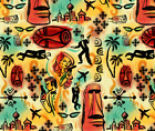 International Exotic James Bond Red Yellow Fabric Printed by Spoonflower BTY $27.0 USD