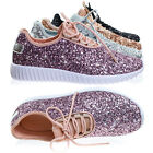 Remy18 Glitter Sneaker Lace Up Elastic w White Bottom Sole