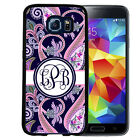 MONOGRAMMED RUBBER CASE FOR SAMSUNG S8 S7 S6 S5 EDGE PLUS NAVY PINK PAISLEY