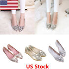US Women Crystal Rhinestones Flat Pointed Toe Loafers Wedding Pull On Pumps Shoe