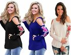 Woman's Ladies Rose Embroidered Long Sleeve Cold Shoulder Top 10 12 14 16 18