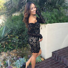 US Women Lace Long Sleeve Bodycon Party Evening Short Mini Dress Pencil Dress