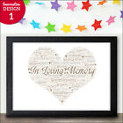 Personalised Word Art In Loving Memory Memorial Picture Print Sympathy Gift