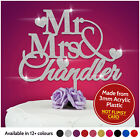 Personalised Wedding Mr & Mrs Heart Cake Topper Keepsake in Safe GLITTER Acrylic