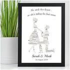 Personalised Word Art Engagement Couple Picture Print Gift Present for Couples