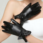 Women's 360° Smart Touch Screen Gloves Genuine Leather Lace Bowknot Flounce