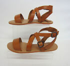 Leather Collection F0924 Ladies Flat Sandals Tan Uk Sizes 3 - 8 (R5A)