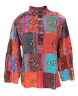 New Unisex Patchwork Hippie Shirt Long Sleeve Kurta up to Plus Size