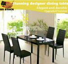 5PC Dining Table Set Modern Kitchen Room Furniture W/ 4 Chairs Black White Color