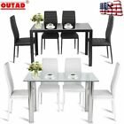 5PC Dining Pigeon-hole Set Modern Kitchen Room Furniture W/ 4 Chairs Black White Color