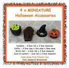 MINIATURE Halloween accessories figures - cake toppers cauldron witch hat coffin