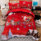 Christmas Duvet Quilt Doona Cover Set King Single Queen Size Bed Santa Claus New
