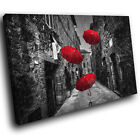 SC865 red umbrella dark street Scenic Wall Art Picture Large Canvas Print