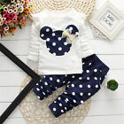 Kids Boys Girls Mickey Minnie Hooded Sweatshirt Pajamas T-Shirt Tops Outfits Set