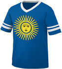 Argentina Sun Of May Golden Argentinian Country Pride AR Men's V-Neck Ringer Tee