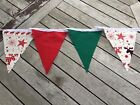 Cotton Bunting Handmade Christmas Flags Rudolph Reindeer Green Red Stars