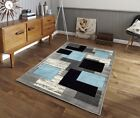 Modern Small Large Carved Quality Thick Teal Blue Floor Rugs Long Runners Rug