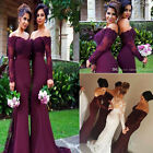 Off Shoulder Lace Mermaid Long Sleeve Beads Wedding Bridesmaid Dress Party Gown