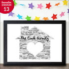 Family Gift Personalised Word Art New Home Print Keepsake - New Family Home Gift