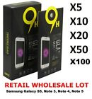 Wholesale Lot Premium 9H Tempered Glass For Samsung Galaxy S5, Note 3, 4 & 5