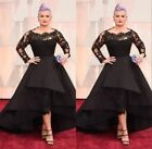 New Pageant Wedding Party Long Sleeve Black Evening Dress Prom Gown Plus Size