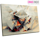 AB754 White 3D Geometric Red Abstract Canvas Wall Art Framed Picture Print
