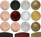 GOLD SILVER CHARGER PLATES PP PLASTIC DECORATIVE DINNER PLACEMATS BLACK RED SETS