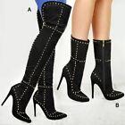 Ladies Womens Studded Thigh High Over The Knee Boots Pointy Stiletto Heel Shoes