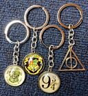 Harry Potter ~Cabochon Glass Dome Keychains Key Rings ~Hogwarts ~Deathly Hallows