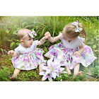 Infant Toddler Baby Girl Little Big Sister Matching Clothes Romper Dress Set