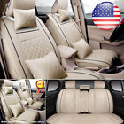 US L Size PU Leather Seat Covers 5-Seats Car SUV Front+Rear w/ 4pc Free Pillows
