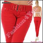 Women's Jeans Ladies Skinny Trousers Sexy Hipsters + Belt Size 8,10,12,14 UK
