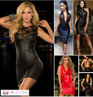 Womens Deep Plunge Sexy Black Faux Leather Wet Look Lace Mini Dress Plus Size