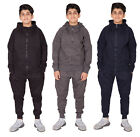 Boys Ribbed Panel Tracksuit Basic Quilted Shoulder Top & Bottoms Joggers