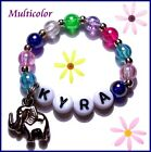 PERSONALIZED NAME BABY REBORN STRETCH BRACELET PINK CLEAR RED GREEN LAVENDER