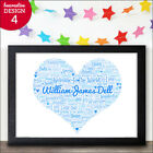 Baby Boys Name Personalised Baby Boy Birth Announcement Nursery Print Boy Gifts