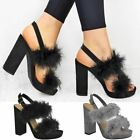 Womens Ladies High Heels Block Platforms Party Sandals Faux Fur Shoes New Size