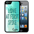 PERSONALIZED RUBBER CASE FOR iPHONE X 8 7 6S SE 5C 5S PLUS  VOLLEYBALL BLUE