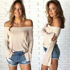 Women Sexy Off Shoulder Casual Sweater Lady Trumpet Sleeve Knitwear Pullover Top
